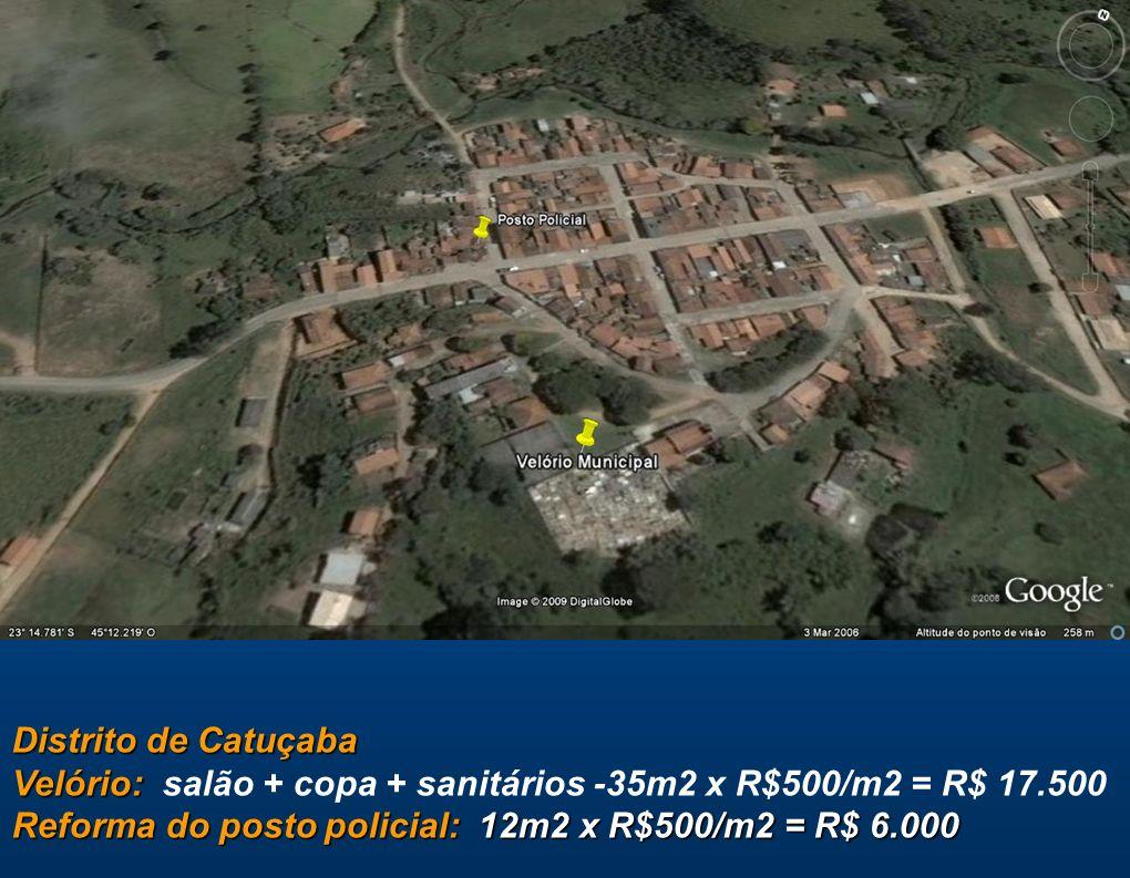 Distrito de Catuçaba Velório: Reforma do posto policial: 12m2 x R$500/m2 = R$ 6.000 Distrito de Catuçaba Velório: salão + copa + sanitários -35m2 x R$