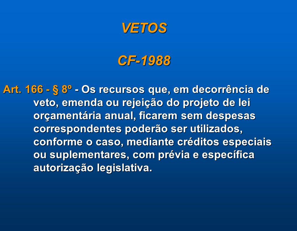 VETOSCF-1988 Art. 166 - § 8º - Os recursos que, em decorrência de veto, emenda ou rejeição do projeto de lei orçamentária anual, ficarem sem despesas