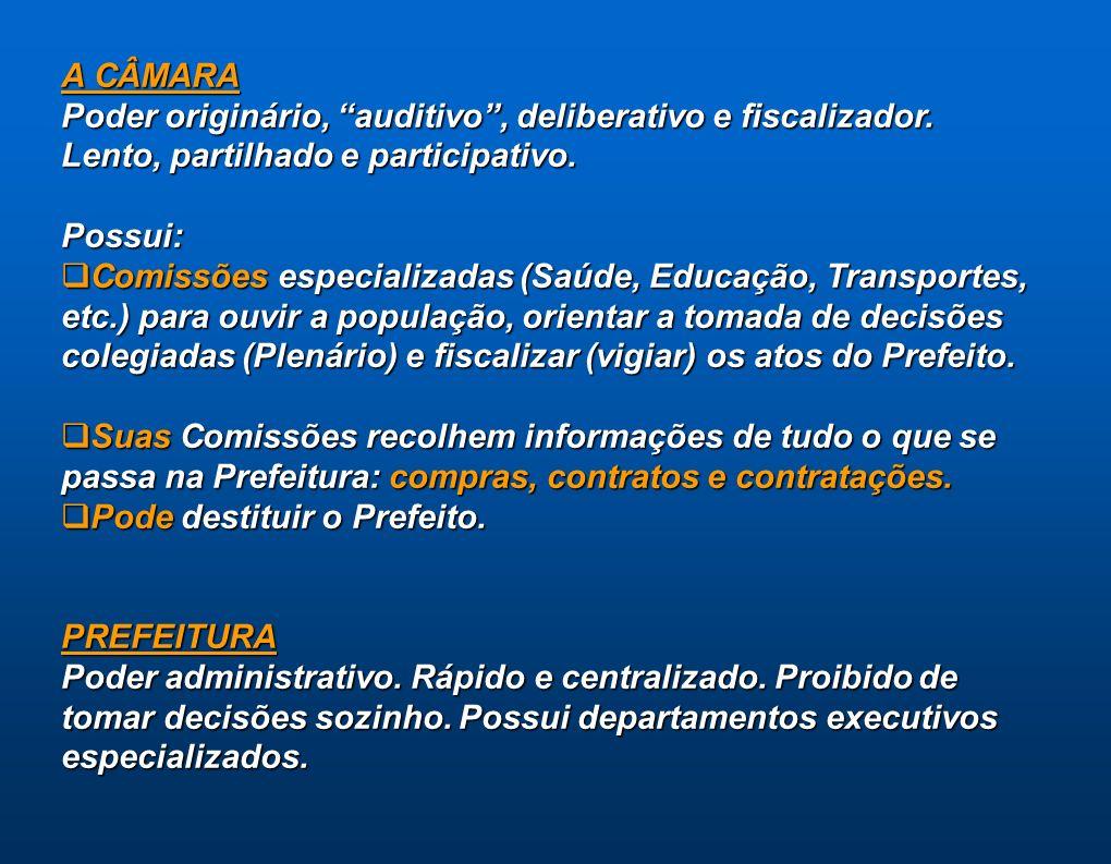 A CÂMARA Poder originário, auditivo, deliberativo e fiscalizador. Lento, partilhado e participativo. Possui: Comissões especializadas (Saúde, Educação