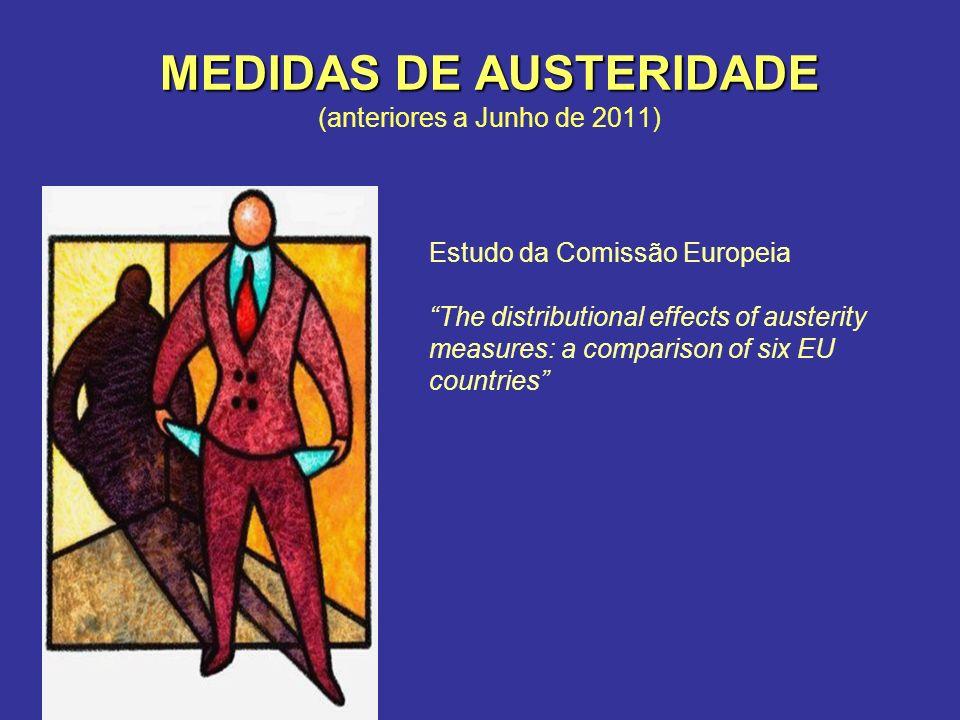 MEDIDAS DE AUSTERIDADE MEDIDAS DE AUSTERIDADE (anteriores a Junho de 2011) Estudo da Comissão Europeia The distributional effects of austerity measures: a comparison of six EU countries