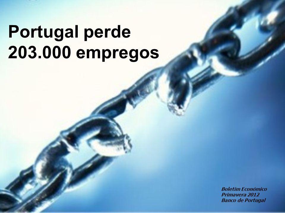 Portugal perde 203.000 empregos Boletim Económico Primavera 2012 Banco de Portugal