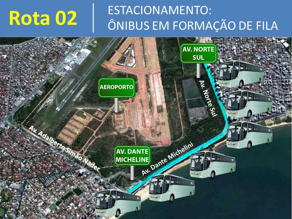 Rota 02 ESTACIONAMENTO: ÔNIBUS EM FORMAÇÃO DE FILA Av.