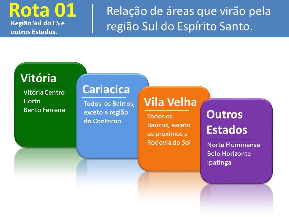 Rota 01 Relação de áreas que virão pela região Sul do Espírito Santo.