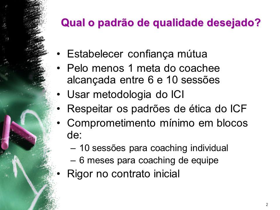 2 Qual o padrão de qualidade desejado? Estabelecer confiança mútua Pelo menos 1 meta do coachee alcançada entre 6 e 10 sessões Usar metodologia do ICI
