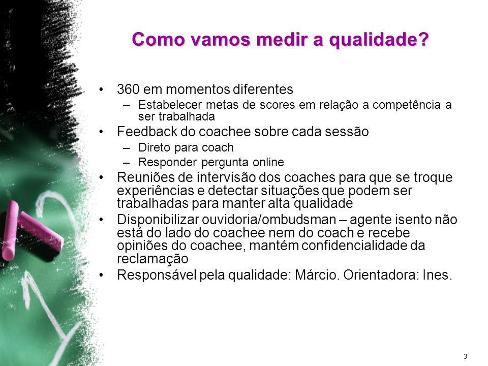 3 Como vamos medir a qualidade? 360 em momentos diferentes –Estabelecer metas de scores em relação a competência a ser trabalhada Feedback do coachee