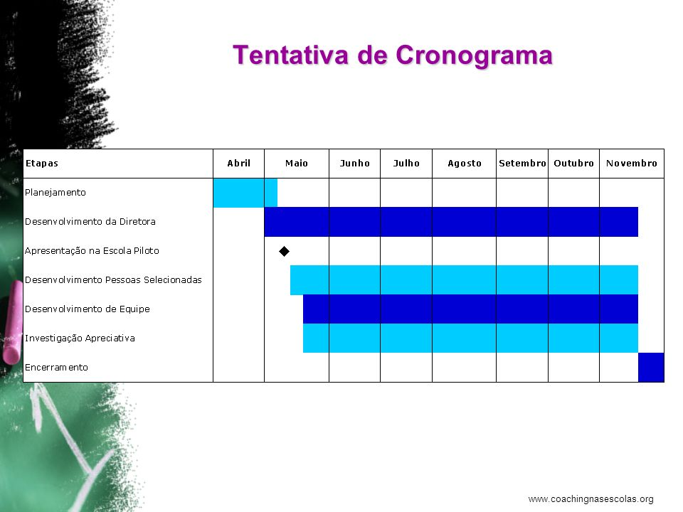 www.coachingnasescolas.org Tentativa de Cronograma