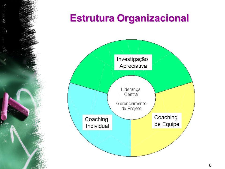 7 Coaching nas Escolas Piloto Coaching Individual Equipe Investigação Apreciativa Definir Descobrir Sonhar Desenhar Destino (Ação) Expansão Estrutura Analítica 1ª Fase