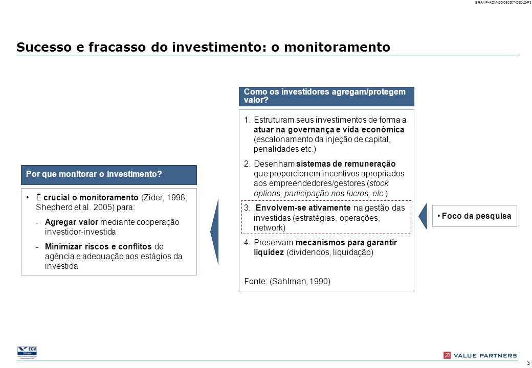 13 BRAVP-ADM-2C-060807-DSouz-P13 Revisão de metas: motivos Percentual de empresas investidas (possibilidade de múltiplas respostas) As revisões de meta, na maioria dos casos em que ocorrem, não são devidas a fatores exógenos à empresa (como mudanças nos cenários competitivo ou econômico), mas dependem essencialmente de motivos internos (estratégicos, organizacionais ou de gestão) A ENTRADA Necessidade de propor metas desafiadoras à empresa investida 100% = 41 empresas com revisão de metas nos 100 primeiros dias Mudança na estratégia após o deal closing Necessidade de desdobra- mento para outros níveis hierárquicos Revisão das capacidades da empresa Mudança no cenário competitivo Aprovação de financiamento Mudança no cenário econômico