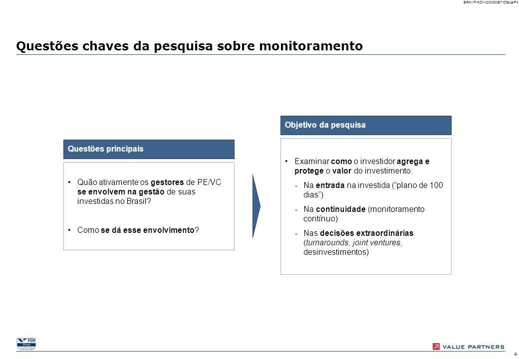 14 BRAVP-ADM-2C-060807-DSouz-P14 Descontinuidades de gestão Número e percentual de empresas investidas (possibilidade de múltiplas respostas) A ENTRADA No período inicial de entrada após o deal closing, as descontinuidades de gestão são mais freqüentes em temas relacionados ao controle, gestão financeira, administrativa e RH das empresas Controle gerencial Estratégia financeira Estrutura adminis- trativa/RH Estratégia comercial Estratégia de opera- ções/produção Jurídico Não houve descontinuidade de gestão Houve descontinuidade de gestão 100% = 92 empresas com respostas válidas 100% = 71 empresas com descontinuidades de gestão Exemplos de descontinui- dades: Processos Venda/ Write-off de ativos Produtos Marketing Clientes Relatórios Indicado- res de desem- penho Auditoria interna Estrutura de capital de giro Relaciona- mento com bancos Headcount Cargos e funções Mudança estatutária Política fiscal No caso das empresas cujo gestor é líder, houve descontinuidades em 82% das empresas da amostra