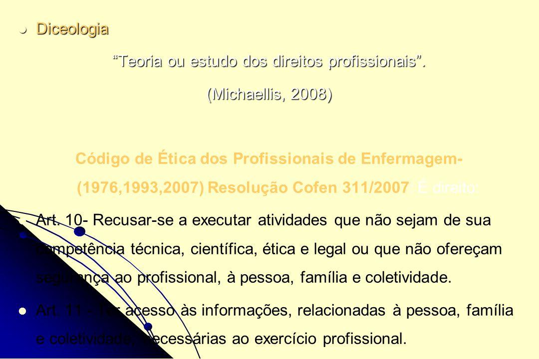 Diceologia Diceologia Teoria ou estudo dos direitos profissionais. (Michaellis, 2008) Código de Ética dos Profissionais de Enfermagem- (1976,1993,2007