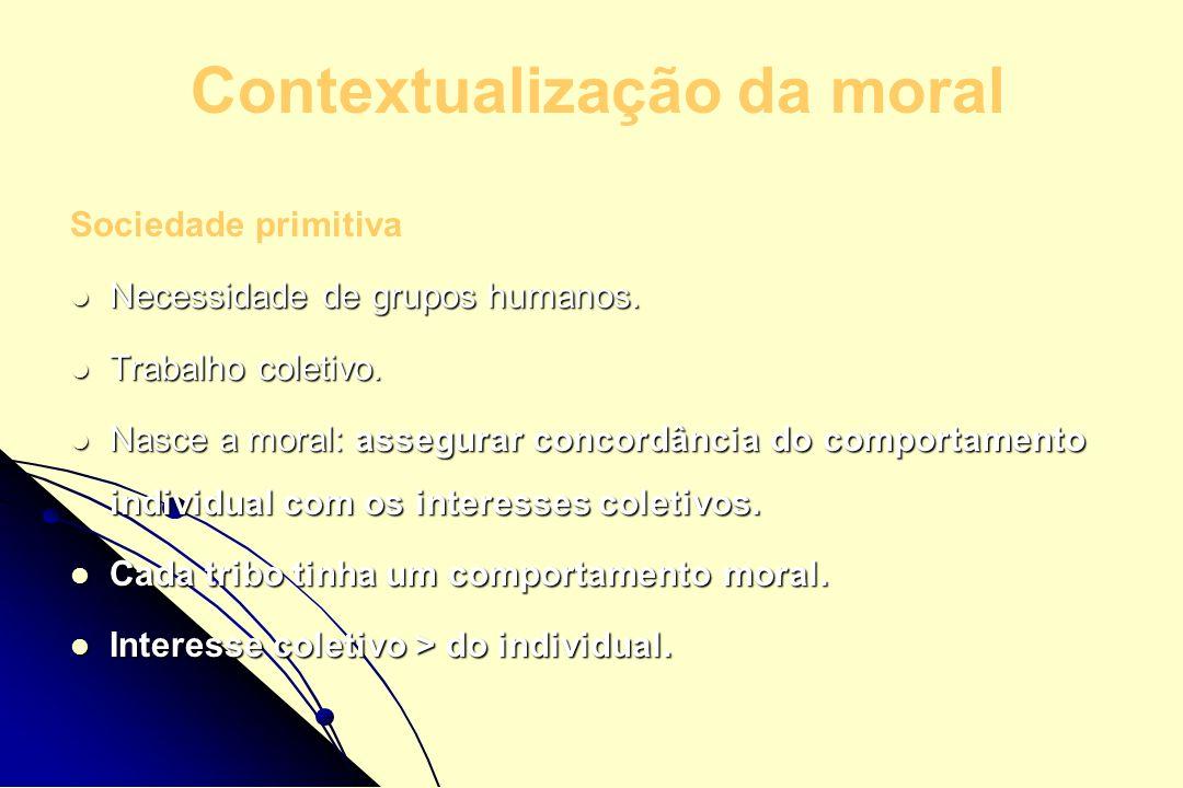 Contextualização da moral Sociedade primitiva Necessidade de grupos humanos. Necessidade de grupos humanos. Trabalho coletivo. Trabalho coletivo. Nasc