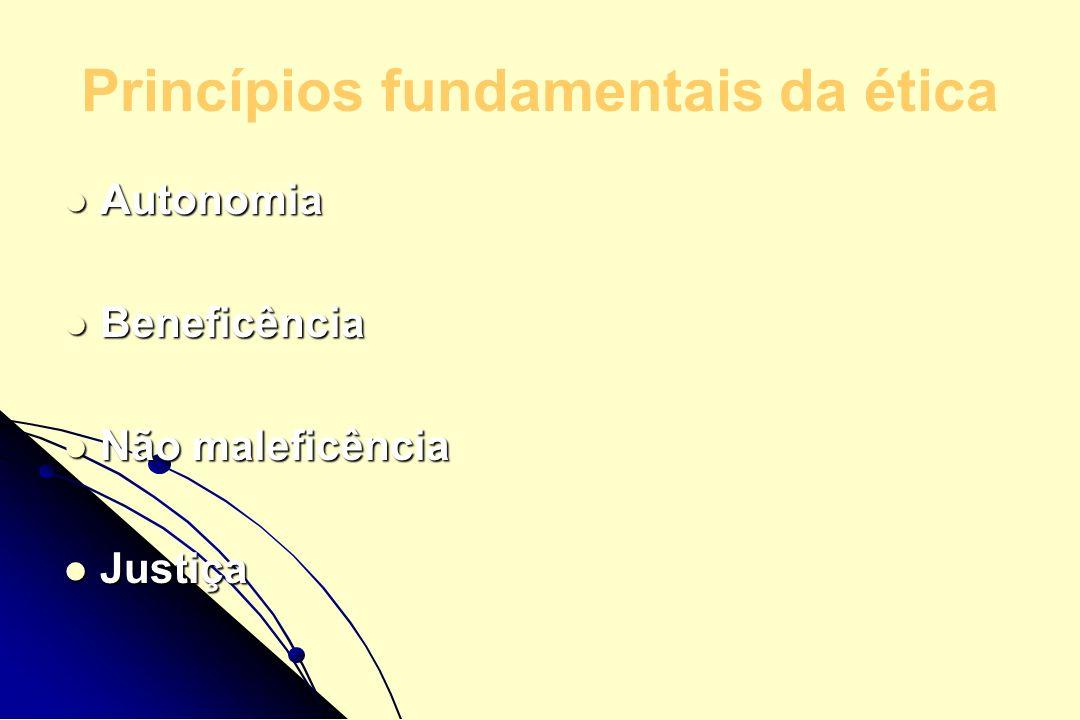 Princípios fundamentais da ética Autonomia Autonomia Beneficência Beneficência Não maleficência Não maleficência Justiça Justiça