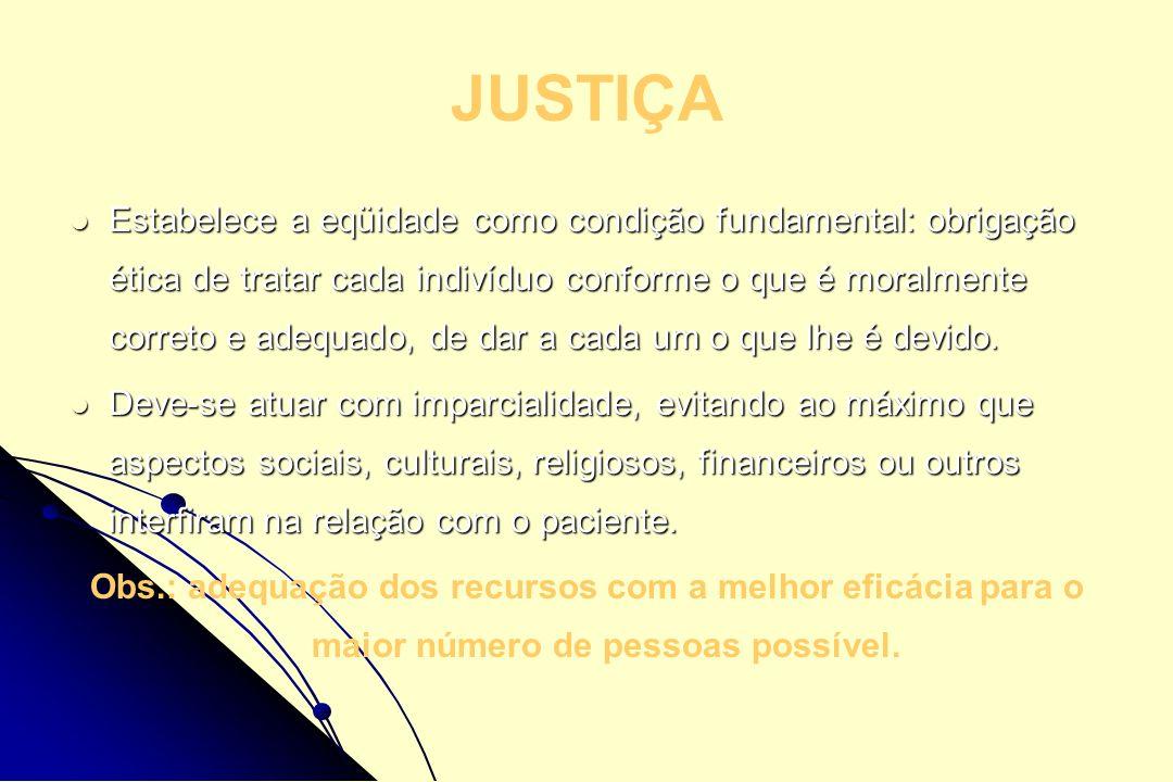 JUSTIÇA Estabelece a eqüidade como condição fundamental: obrigação ética de tratar cada indivíduo conforme o que é moralmente correto e adequado, de d