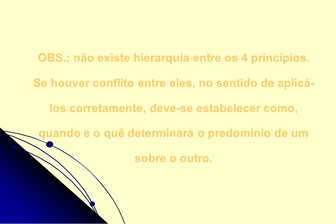 OBS.: não existe hierarquia entre os 4 princípios. Se houver conflito entre eles, no sentido de aplicá- los corretamente, deve-se estabelecer como, qu