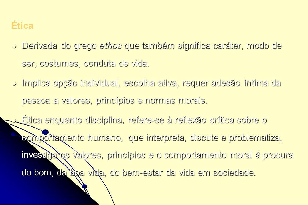 Ética Derivada do grego ethos que também significa caráter, modo de ser, costumes, conduta de vida. Derivada do grego ethos que também significa carát