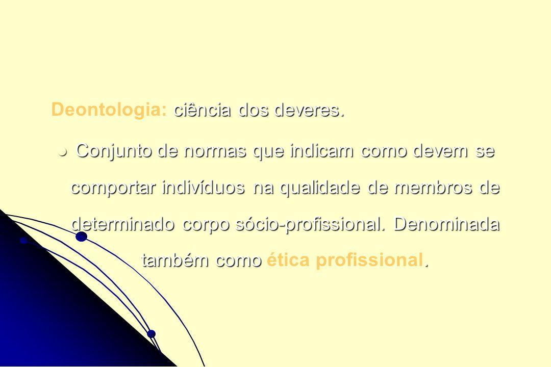 Normas deontológicas inscritas nos Códigos de ética Normas que servem como padrão de conduta para os profissionais em suas relações com membros da própria categoria, com profissionais de outras categorias, com seus pacientes, clientes, família de pacientes, autoridades, poder judiciário, administração, entre outros.