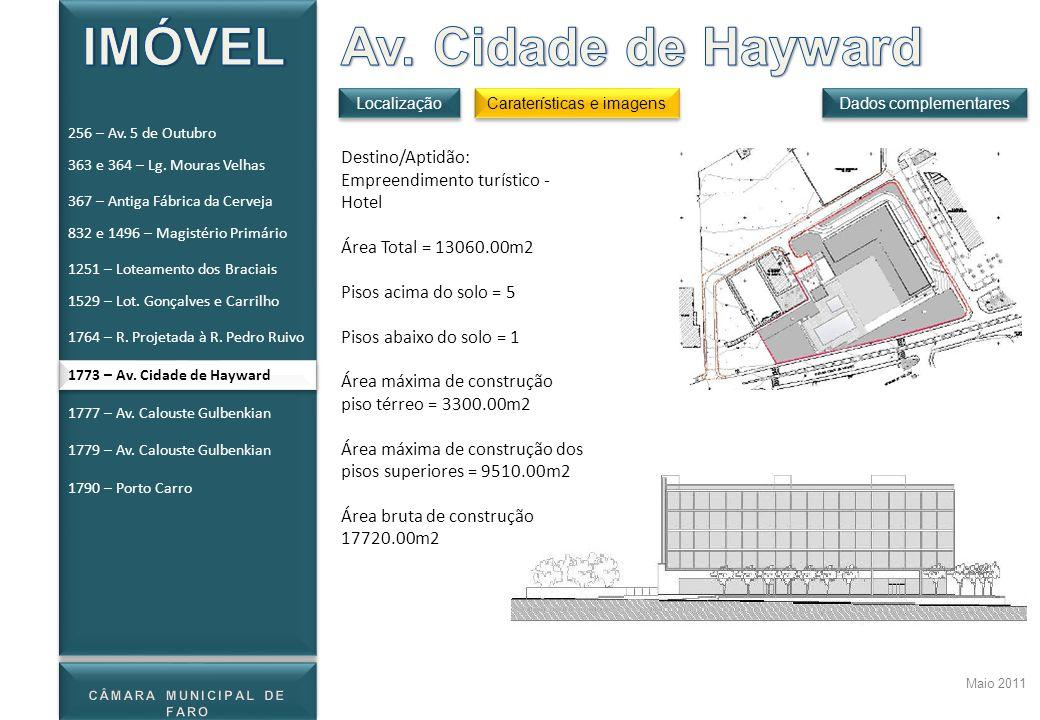 Maio 2011 Destino/Aptidão: Empreendimento turístico - Hotel Área Total = 13060.00m2 Pisos acima do solo = 5 Pisos abaixo do solo = 1 Área máxima de co