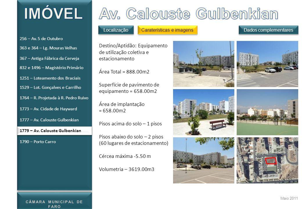 Maio 2011 Destino/Aptidão: Equipamento de utilização coletiva e estacionamento Área Total = 888.00m2 Superfície de pavimento de equipamento = 658.00m2