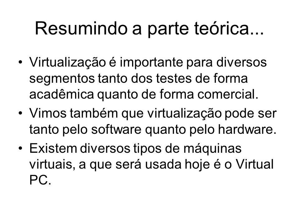 Finalizando... Vamos a parte prática da virtualização?