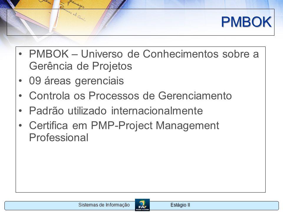Estágio II Sistemas de Informação PMBOK PMBOK – Universo de Conhecimentos sobre a Gerência de Projetos 09 áreas gerenciais Controla os Processos de Ge