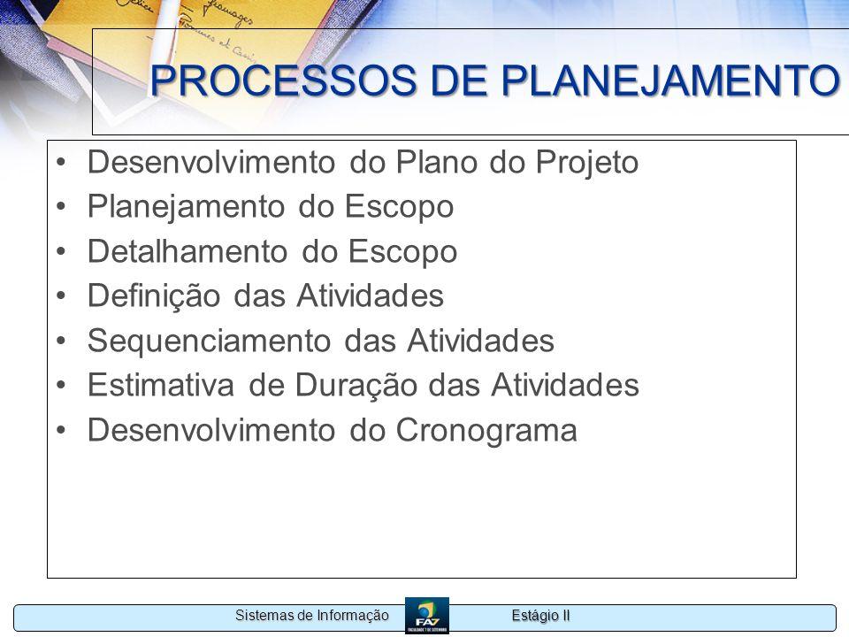 Estágio II Sistemas de Informação PROCESSOS DE PLANEJAMENTO Desenvolvimento do Plano do Projeto Planejamento do Escopo Detalhamento do Escopo Definiçã