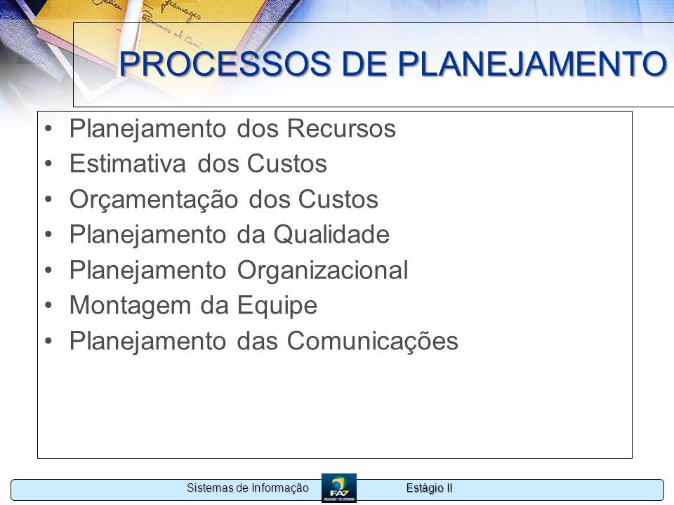 Estágio II Sistemas de Informação PROCESSOS DE PLANEJAMENTO Planejamento dos Recursos Estimativa dos Custos Orçamentação dos Custos Planejamento da Qu