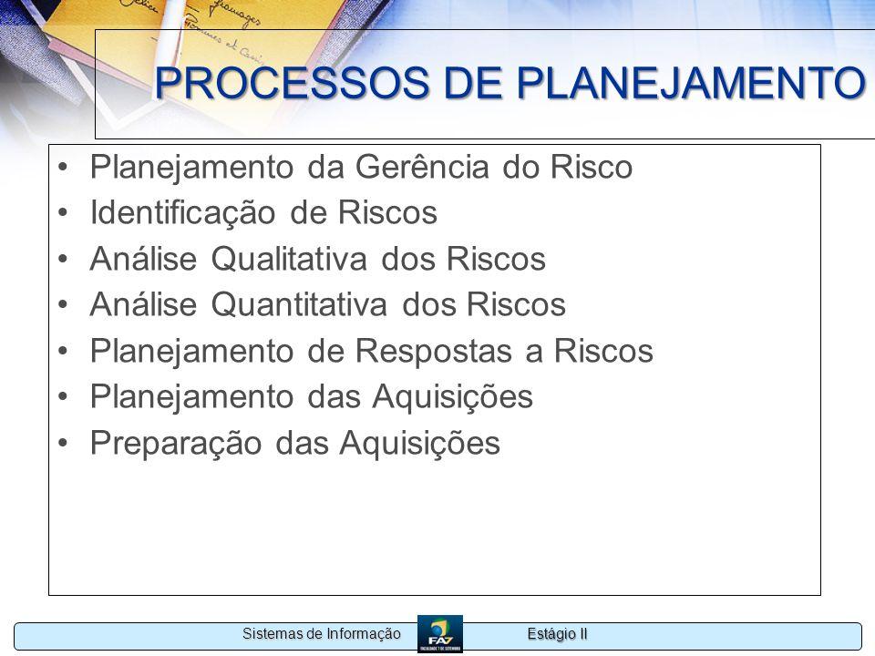 Estágio II Sistemas de Informação PROCESSOS DE PLANEJAMENTO Planejamento da Gerência do Risco Identificação de Riscos Análise Qualitativa dos Riscos A