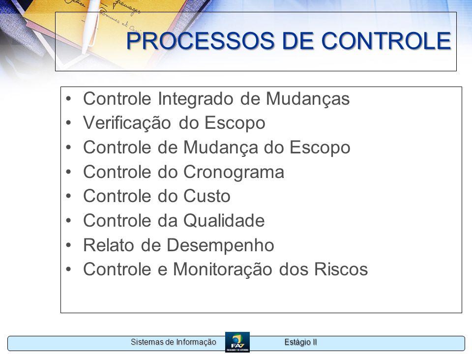 Estágio II Sistemas de Informação PROCESSOS DE CONTROLE Controle Integrado de Mudanças Verificação do Escopo Controle de Mudança do Escopo Controle do