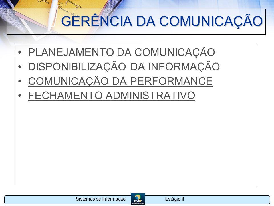 Estágio II Sistemas de Informação GERÊNCIA DA COMUNICAÇÃO PLANEJAMENTO DA COMUNICAÇÃO DISPONIBILIZAÇÃO DA INFORMAÇÃO COMUNICAÇÃO DA PERFORMANCE FECHAM