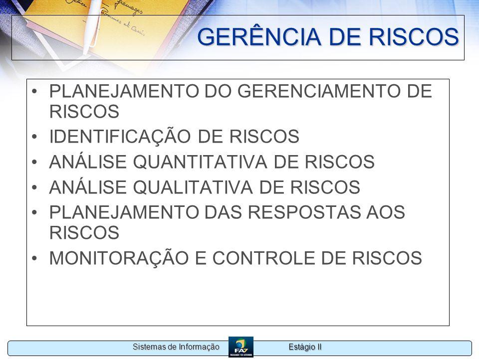 Estágio II Sistemas de Informação GERÊNCIA DE RISCOS PLANEJAMENTO DO GERENCIAMENTO DE RISCOS IDENTIFICAÇÃO DE RISCOS ANÁLISE QUANTITATIVA DE RISCOS AN