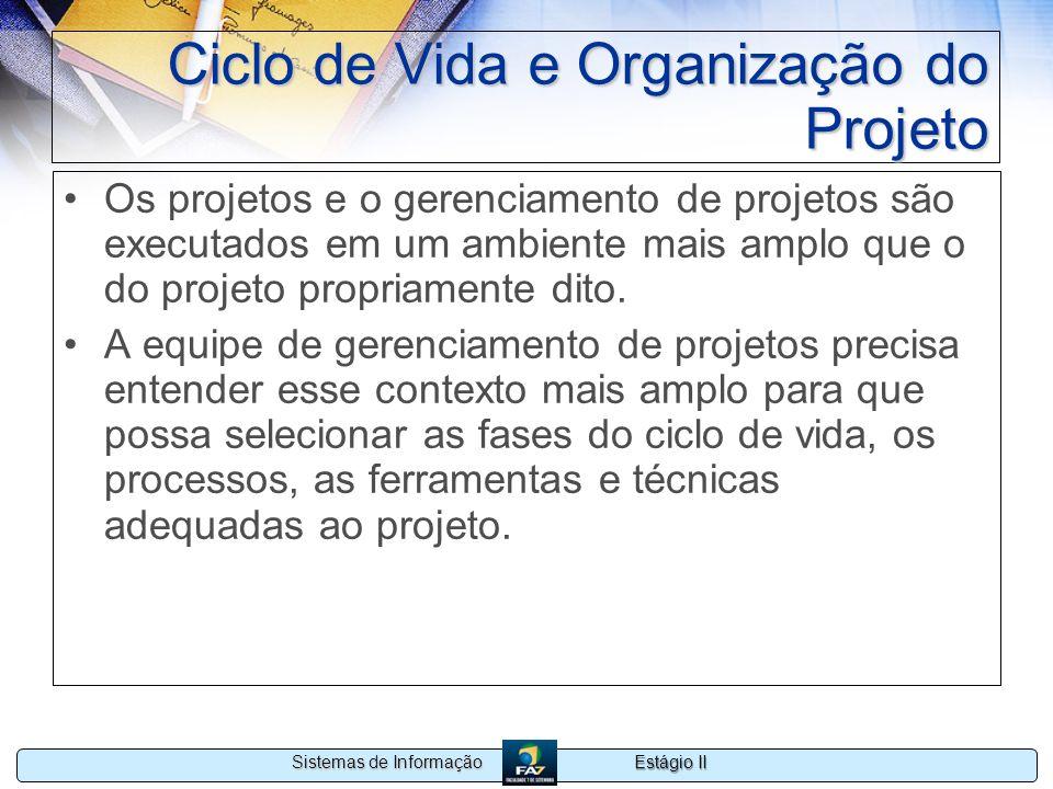 Estágio II Sistemas de Informação Ciclo de Vida e Organização do Projeto Os projetos e o gerenciamento de projetos são executados em um ambiente mais