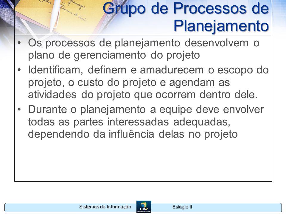 Estágio II Sistemas de Informação Grupo de Processos de Planejamento Os processos de planejamento desenvolvem o plano de gerenciamento do projeto Iden