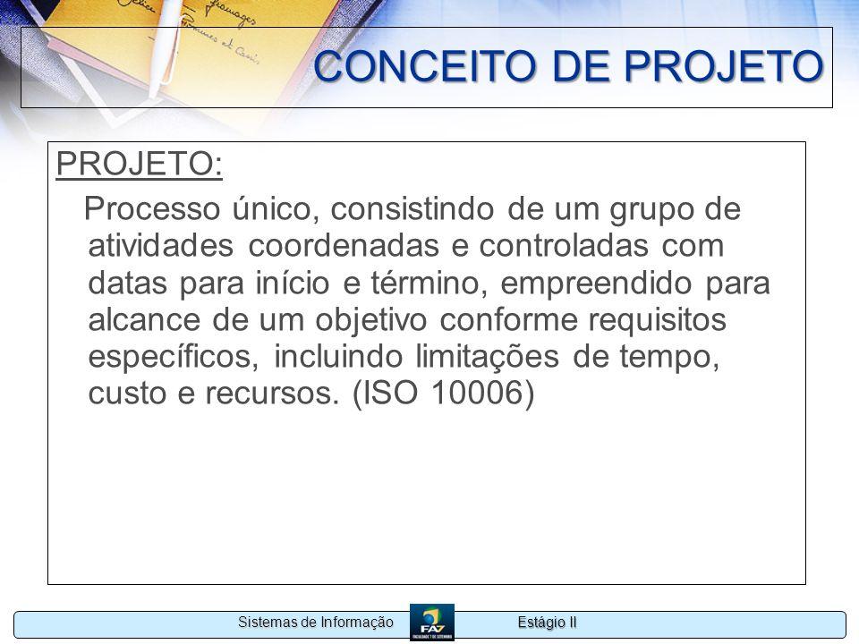 Estágio II Sistemas de Informação CONCEITO DE PROJETO PROJETO: Processo único, consistindo de um grupo de atividades coordenadas e controladas com dat