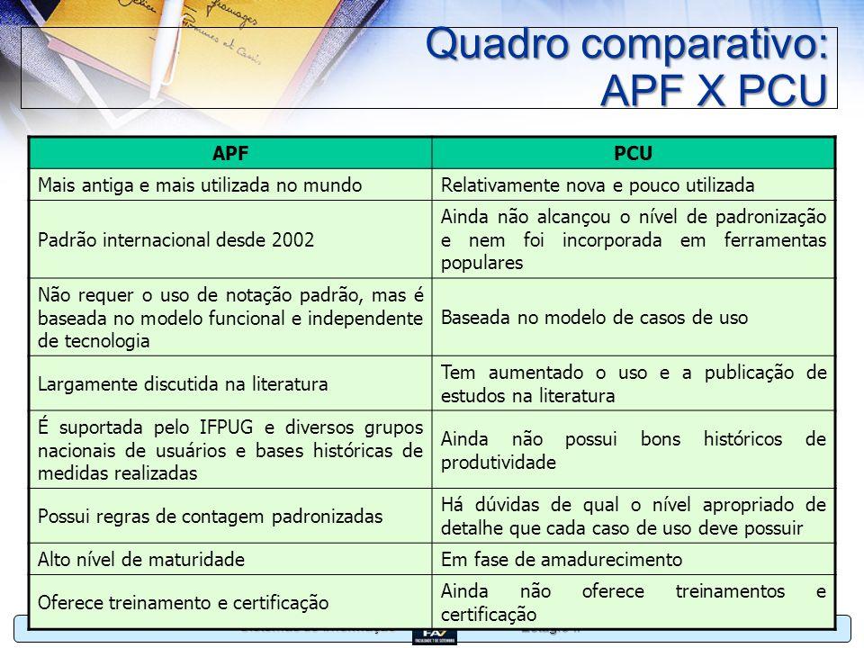 Estágio II Sistemas de Informação Quadro comparativo: APF X PCU APFPCU Mais antiga e mais utilizada no mundoRelativamente nova e pouco utilizada Padrã