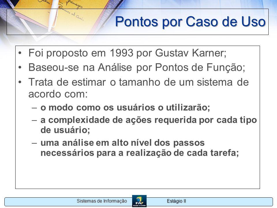 Estágio II Sistemas de Informação Pontos por Caso de Uso Foi proposto em 1993 por Gustav Karner; Baseou-se na Análise por Pontos de Função; Trata de e