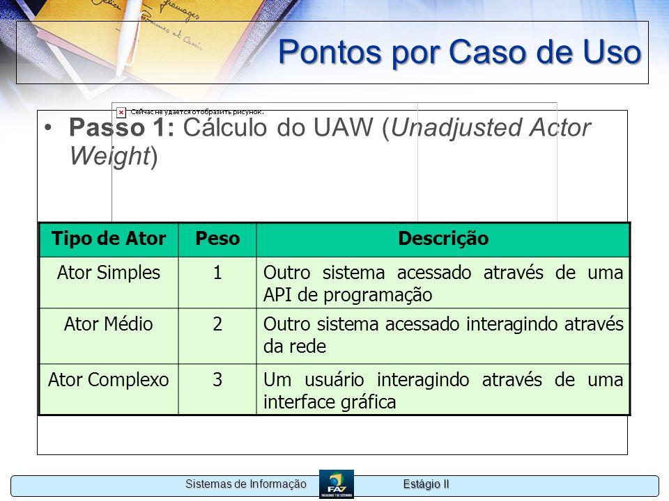 Estágio II Sistemas de Informação Pontos por Caso de Uso Passo 1: Cálculo do UAW (Unadjusted Actor Weight) Tipo de AtorPesoDescrição Ator Simples1Outr