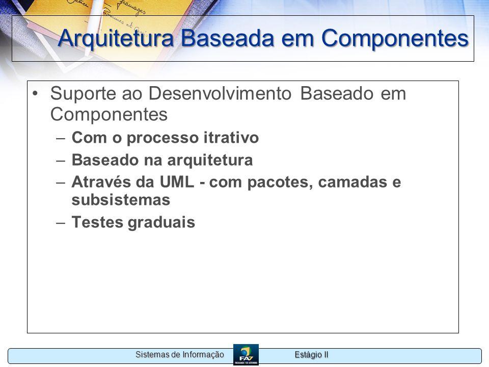 Estágio II Sistemas de Informação Arquitetura Baseada em Componentes Suporte ao Desenvolvimento Baseado em Componentes –Com o processo itrativo –Basea