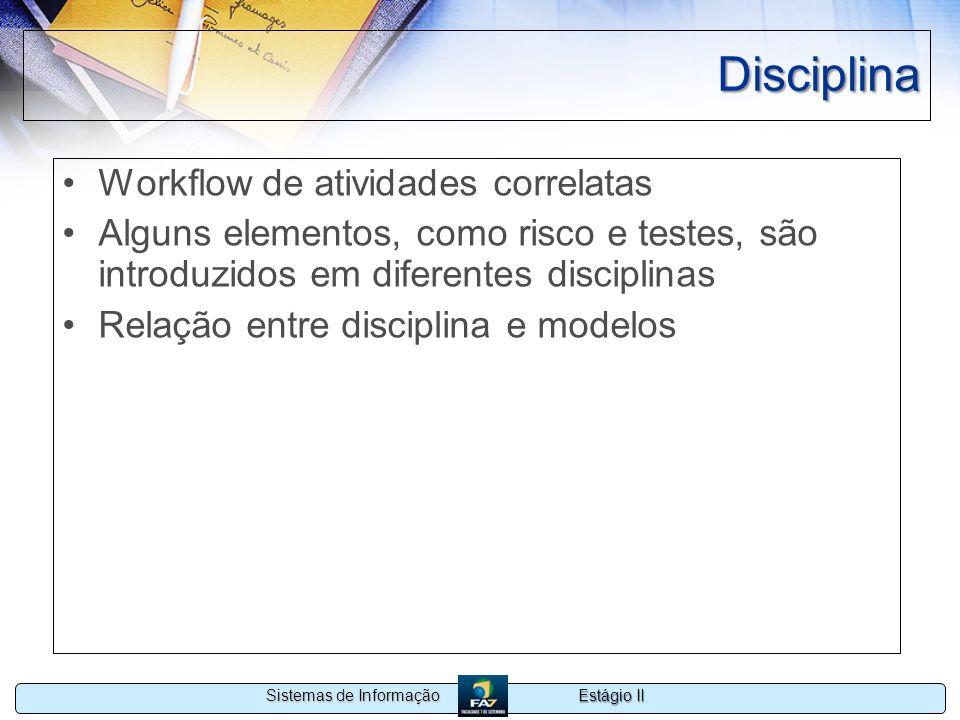 Estágio II Sistemas de Informação Disciplina Workflow de atividades correlatas Alguns elementos, como risco e testes, são introduzidos em diferentes d