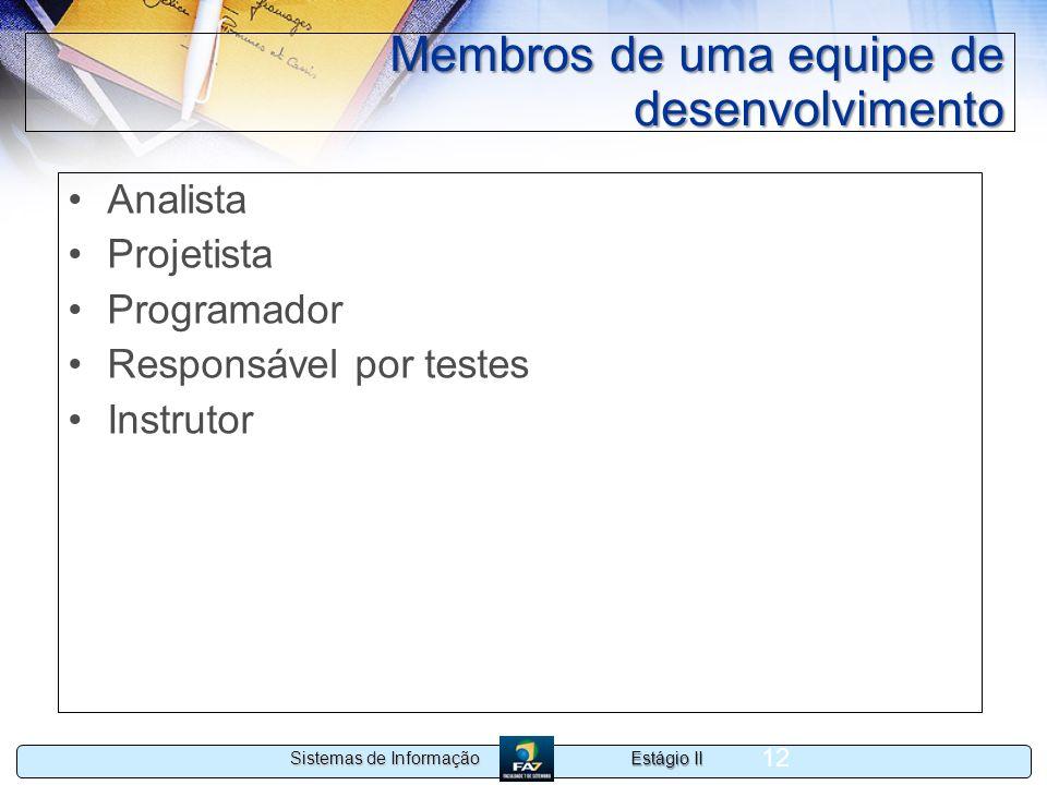 Estágio II Sistemas de Informação 12 Membros de uma equipe de desenvolvimento Analista Projetista Programador Responsável por testes Instrutor