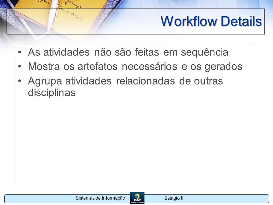 Estágio II Sistemas de Informação Workflow Details As atividades não são feitas em sequência Mostra os artefatos necessários e os gerados Agrupa ativi