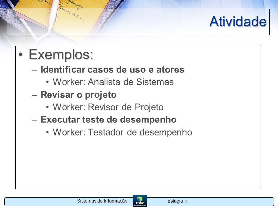 Estágio II Sistemas de Informação Atividade Exemplos:Exemplos: –Identificar casos de uso e atores Worker: Analista de Sistemas –Revisar o projeto Work