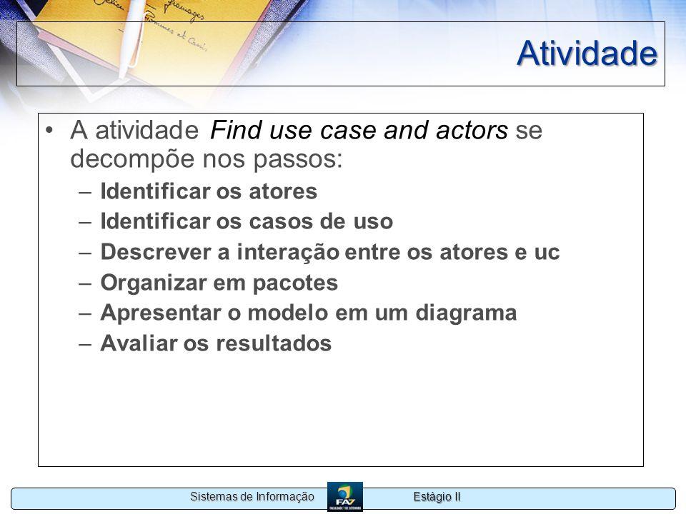 Estágio II Sistemas de Informação Atividade A atividade Find use case and actors se decompõe nos passos: –Identificar os atores –Identificar os casos