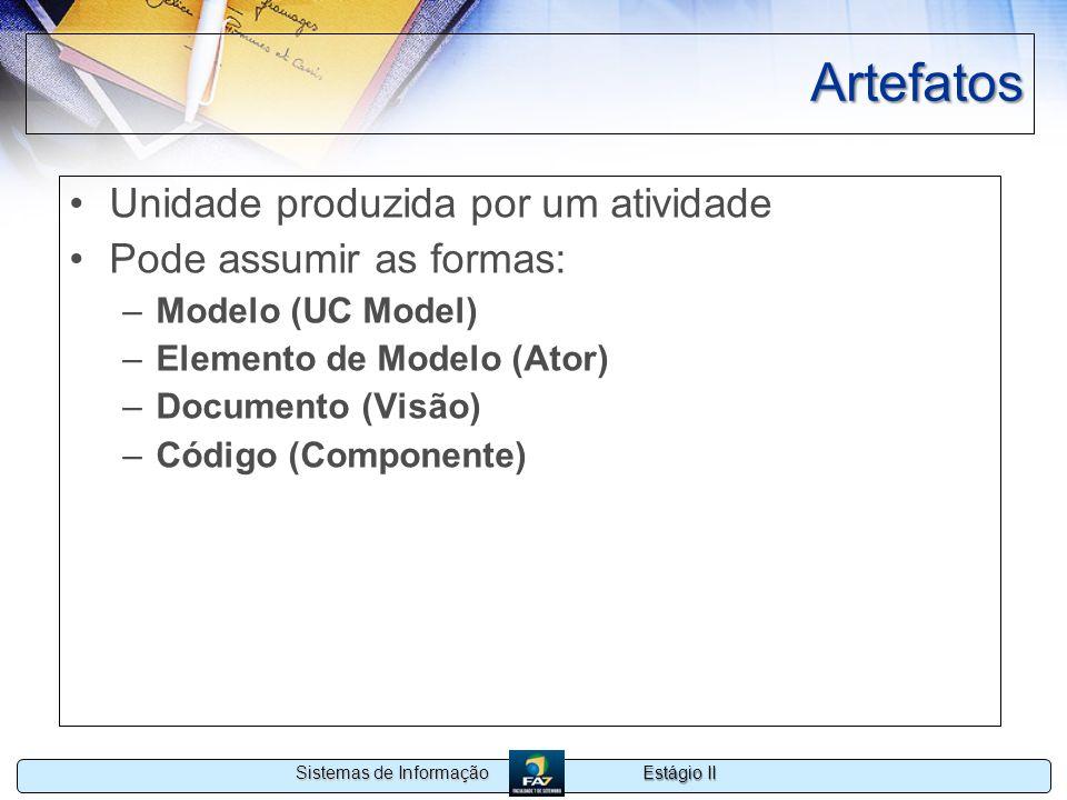 Estágio II Sistemas de Informação Artefatos Unidade produzida por um atividade Pode assumir as formas: –Modelo (UC Model) –Elemento de Modelo (Ator) –