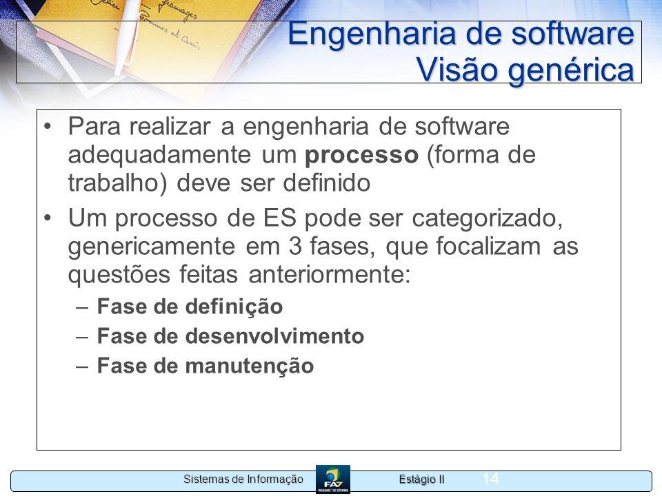 Estágio II Sistemas de Informação 14 Engenharia de software Visão genérica Para realizar a engenharia de software adequadamente um processo (forma de