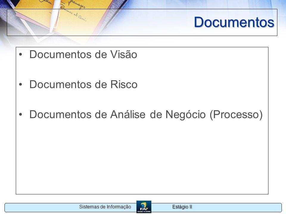 Estágio II Sistemas de Informação Documentos Documentos de Visão Documentos de Risco Documentos de Análise de Negócio (Processo)