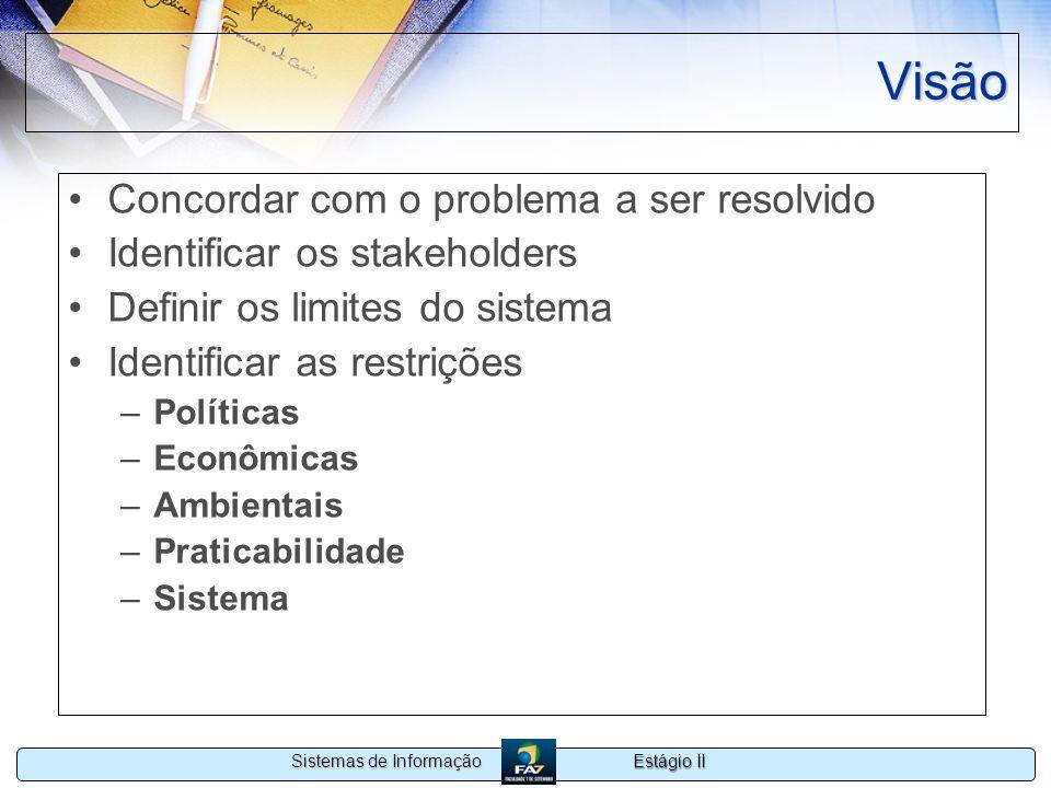 Estágio II Sistemas de Informação Visão Concordar com o problema a ser resolvido Identificar os stakeholders Definir os limites do sistema Identificar