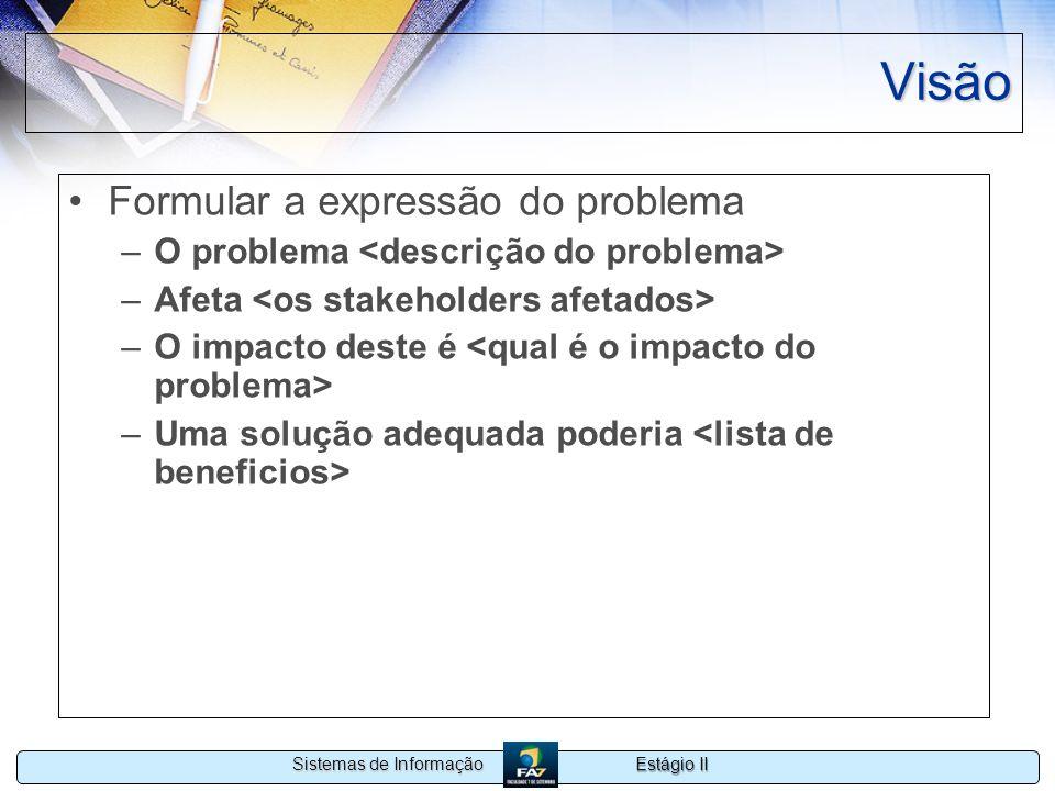 Estágio II Sistemas de Informação Visão Formular a expressão do problema –O problema –Afeta –O impacto deste é –Uma solução adequada poderia