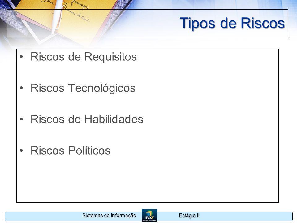 Estágio II Sistemas de Informação Tipos de Riscos Riscos de Requisitos Riscos Tecnológicos Riscos de Habilidades Riscos Políticos