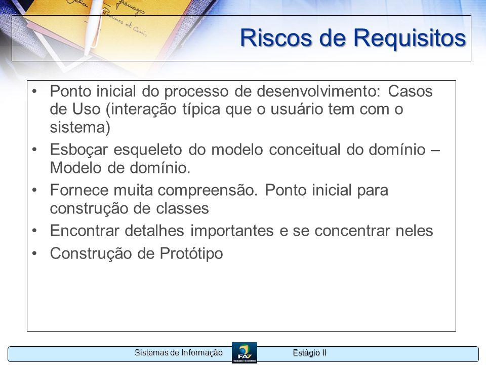 Estágio II Sistemas de Informação Riscos de Requisitos Ponto inicial do processo de desenvolvimento: Casos de Uso (interação típica que o usuário tem