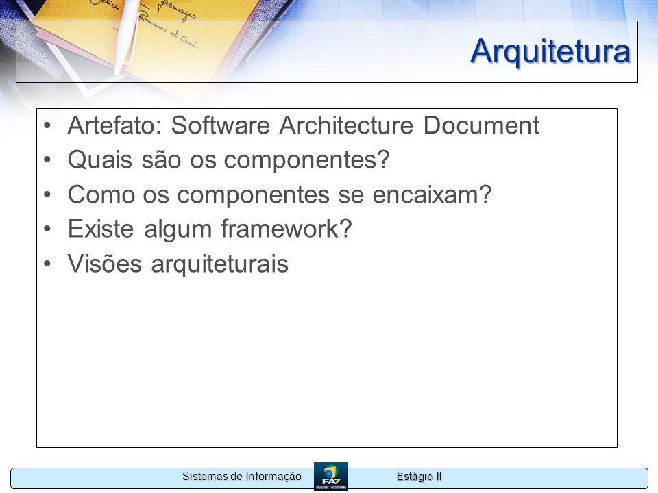 Estágio II Sistemas de Informação Arquitetura Artefato: Software Architecture Document Quais são os componentes? Como os componentes se encaixam? Exis